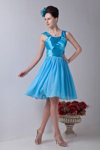 Aqua Blue with Straps Chiffon Dresses For Damas with Ruches