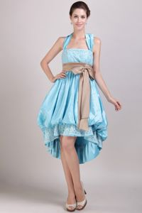 Halter High-low Quince Dama Dresses with Appliques and Bowknot