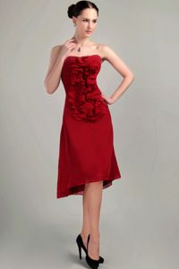 Wine Red Strapless Short Dama Dress For Quinceaneras in Chiffon