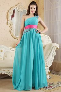 One Shoulder Teal Quince Dama Dresses with Ruches and Beading