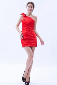 One Shoulder Red Dama Dress For Quinceaneras Satin with Bow