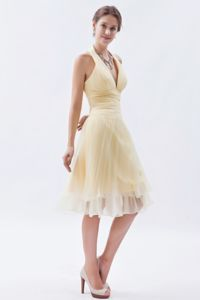 Champagne Halter Ruched 15 Dresses For Damas in Knee-length