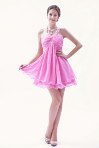 Rose Pink Beaded Formal Dresses For Dama Mini-length Organza