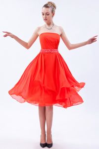 Strapless Dama Dress For Quinceaneras Chiffon with Beading in Red