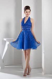 Mini-length Blue Bridesmaid Dama Dresses with beading in Organza