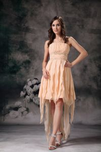 High Low Short Strapless Damas Dresses For Quince in Champagne