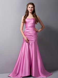 Rose Pink Mermaid Ruched Quince Dama Dresses with Brush Train