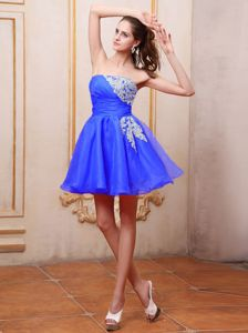 Strapless Short Royal Blue Prom Dresses For Dama with Appliques