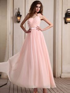 One Shoulder Ankle-length Dama Dress in Baby Pink with Flower