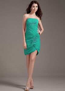 Strapless Short Beaded Turquoise Dama Dresses For Quinceaneras