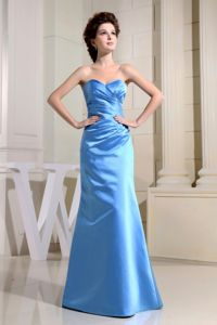 Elegant Sweetheart Long Ruched Blue Quinceanera Damas Dresses