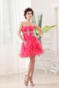 Strapless Short Beaded Hot Pink Dama Dresses with Ruffled Layers