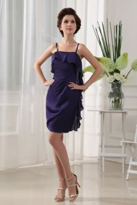 Straps Short Ruched Purple Dama Quinceanera Dresses with Ruffles