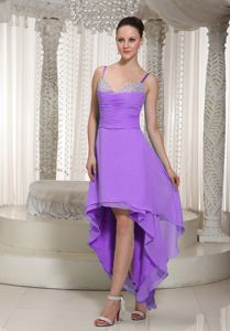 Spaghetti Straps High-low Beaded Lavender Dama Dress with Ruche