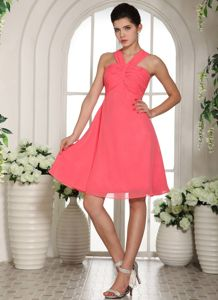 V-neck Knee-length Ruched Watermelon Bridesmaid Dama Dresses