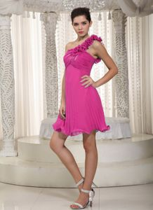 One Shoulder Ruched Dresses For Damas in Hot Pink with Flowers