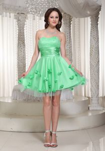 Sweetheart Short Apple Green Quince Dama Dresses with Flowers