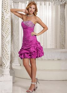 Strapless Short Beaded Fuchsia Dresses For Damas with Pick-ups