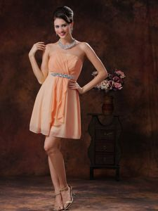 Strapless Short Beaded Orange Quince Dama Dresses with Ruche
