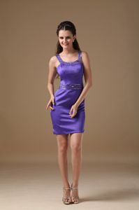 Elegant Straps Short Beaded Purple Dama Dress For Quinceaneras