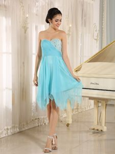 Sweetheart Asymmetrical Beaded Baby Blue Quince Dama Dresses
