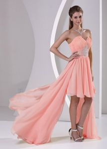 Sweetheart High-low Beaded Watermelon Prom Dresses For Dama