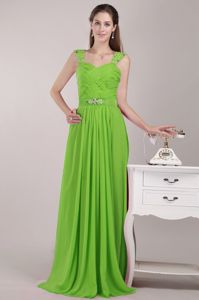 Straps Floor-length Beaded 15 Dresses For Damas in Spring Green