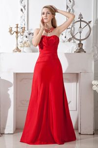 Elegant Strapless Long Ruched Red Dama Dresses For Quinceanera