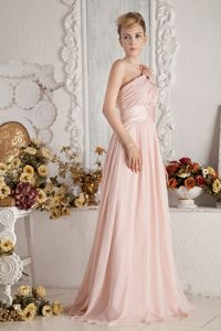 One Shoulder Brush Train Flowers Ruched Baby Pink Dama Dress