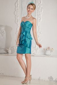 Sweetheart Short Quince Dama Dresses in Teal with Layers and Sash