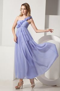One Shoulder Ankle-length Lilac Quince Dama Dresses with Flower