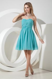 Sweetheart Short Ruched Aqua Blue Dama Dress For Quinceaneras