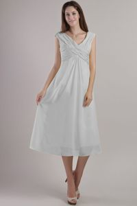 New V-neck Tea-length Ruched Grey Quinceanera Damas Dresses