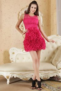 Scoop Mini-length Ruched Hot Pink Dama Dress For Quinceaneras