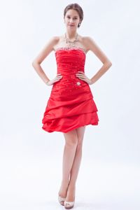Hot Sale Strapless Short Beaded Red Dama Dress For Quinceaneras