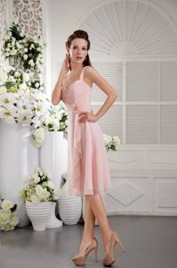 Hot Sale Straps Tea-length Pink Quince Dama Dresses with Flower