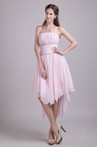 Strapless High-low Ruched Pink Quince Dama Dresses with Beading