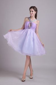 Elegant V-neck Knee-length Lilac Quince Dama Dresses with Cutout