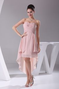 Hot Sale Sweetheart High-low Ruched Pink Quince Dama Dresses