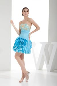 Strapless Short Aqua Blue Dama Dress with Flower and Embroidery