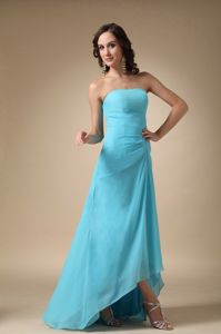 Strapless Asymmetrical Ruched Quince Dama Dresses in Aqua Blue