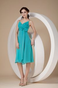 New Spaghetti Straps Knee-length Turquoise Dama Dress with Bow
