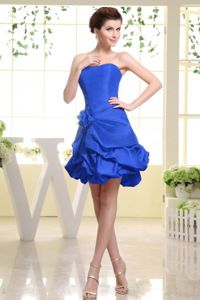 Strapless Short Royal Blue Quinceanera Dama Dresses with Flowers