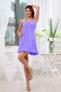 Elegant Halter Short Ruched Dama Dresses For Quinceanera in Lilac