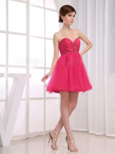 Sweetheart Mini-length Beaded Red Dama Dresses For Quinceanera
