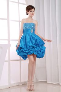 Strapless Short Beaded Teal Quinceanera Dama Dress with Pick-ups