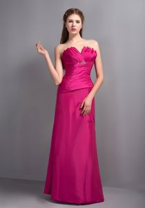 Elegant V-neck Long Beaded Quinceanera Dama Dresses in Hot Pink