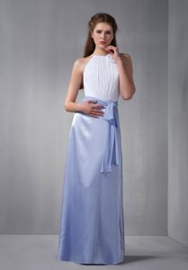 Scoop Floor-length White and Lilac Dama Dresses For Quinceanera