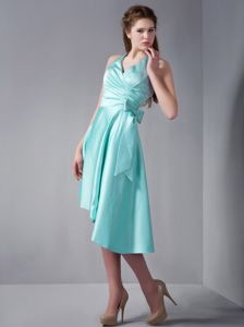 Halter Asymmetrical Ruched Aqua Blue Quinceanera Damas Dresses