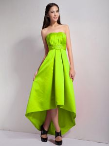 Appliques Yellow Green A-line Strapless High-low Dama Dress